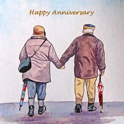 Anniversary walking people man woman for-him for-her personalised online greeting card