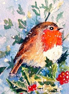 Christmas artwork robin birds wildlife  personalised online greeting card