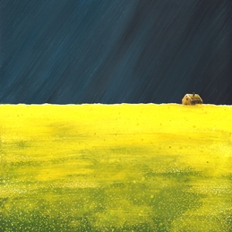 Storm, sky, yellow, cottage, landscape, flowers, field, contemporary personalised online greeting card