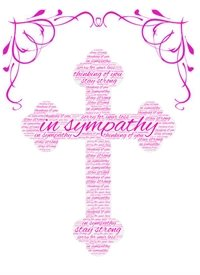 Sympathy  loss, pink, female  cross z%a personalised online greeting card