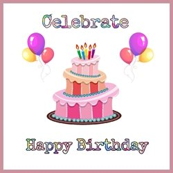 Birthday Cake , balloons , occasion, happy ,  personalised online greeting card