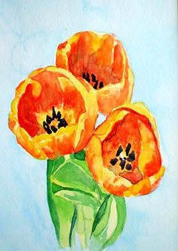 EmilyJane Tulips art flowers orange green yellow  for-her mum  daughter Nan aunt friend personalised online greeting card