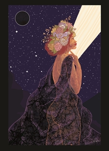 General New Beginnings, Goddesses, Spring, Self-Love, Flowers, Women, New Moon, Stars, conceptual art, Nighttime  personalised online greeting card