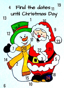 christmas artwork Santa snowman numbers for-children personalised online greeting card
