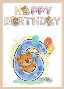 birthday children  Teddy Bear Number 6 Purple Brown Blue Green Happy  personalised online greeting card