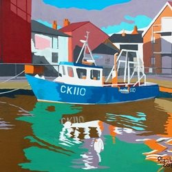 General Wivenhoe Essex Dock fishing Boat Harbour personalised online greeting card