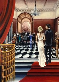 "Art By Three  ""Shall We?"" General fineart Art Deco  oils art blank general all occasions for-him for-her  lovers couples anniversary celebrations fineart vintage   ballrooms romance dancing parties music musicians bands proms red white dresses elegant luxury personalised online greeting card"