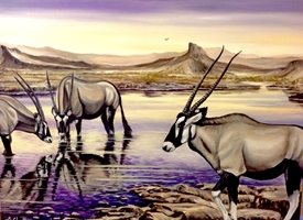 General Art  greeting cards by Art By Three  oryxs wildlife waterholes animals  for-him for-her wildlife safari nature africa purple sky reflections landscapes oils general blank all occasions art him her  Oryx At Sunset