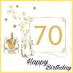 Birthday 70th,  champagne,  gold , happy  personalised online greeting card