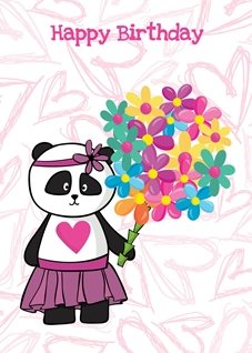 Birthday Panda bear cute flowers bouquet pink personalised online greeting card