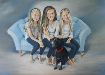 Kelly's family fine art painting portrait oils personalised online greeting card