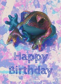 Birthday ZenFrog Happy  frog funny rainbow z%a personalised online greeting card
