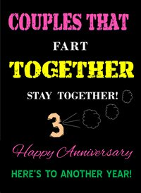 Quirkytags... FART TOGETHER Anniversary Fart funny humour z%a personalised online greeting card