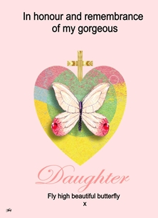 sympathy memory bereavement Daughter In Memory Remembrance Loss Butterfly Heart Pink Yellow Green Sad for-her Wholesale  personalised online greeting card