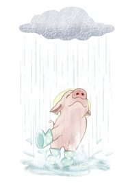 General rainy days, rain, puddles, splash, pig, farm animals, barn animals, piggy, spring, happy, cheerful, well wishes personalised online greeting card