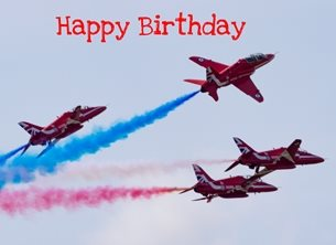 Birthday Red arrow, RAF, plane, airplane, for-him  for-child personalised online greeting card