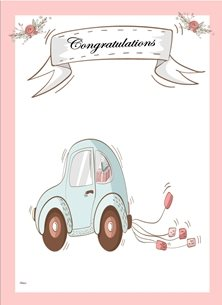 wedding Wedding Car Flowers Banner Pink Blue White Happy  personalised online greeting card