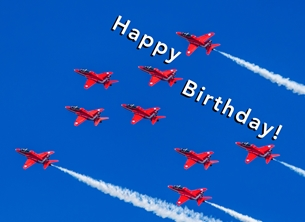 Birthday ^red arrows^, RAF, aeroplane, airplane, plane, jet, aviation, aircraft personalised online greeting card