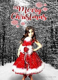 Christmas quirky cute girl z%a personalised online greeting card