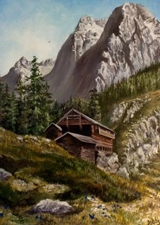 Art mountains landscapes holidays peaceful country scene for-him for-her countryside trees dolomites rocks green chalets logs cabins houses flowers sky italy peace oils art blank general all occasions him her personalised online greeting card