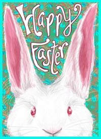 easter bunny, bunny, rabbit, grass, spring, colorful, happy personalised online greeting card