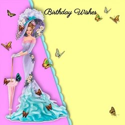 Birthday Lady Butterflies Hat Parasol Yellow Blue pink purple orange green Happy  personalised online greeting card