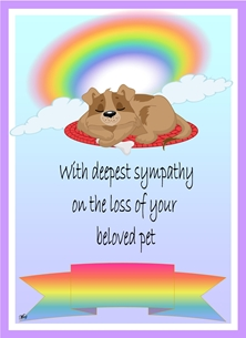 Sympathy Sympathy Pet Loss Dog Rainbow Clouds Blue White Purple Yellow Red Orange Sad Wholesale  personalised online greeting card