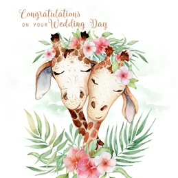Wedding  greeting cards by Little Bird Greetings Cards WEDDING giraffes celebrate  Wedding Day Card