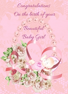 Baby For Her Baby Girl Birth New Baby Flowers Pearls Ribbon Lace Pink Happy  personalised online greeting card