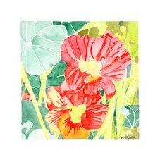 general art nasturtiums picture, floral, flowers, blank card, garden, watercolour painting, plants, spring personalised online greeting card