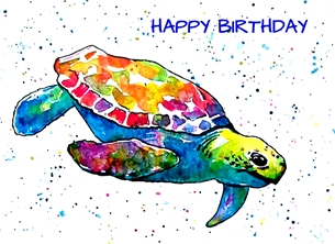 Birthday artwork turtle wildlife funny animal for-him for-her for-children personalised online greeting card