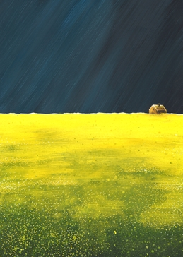 art Storm,sky,field, yellow, cottage, vibrant, spring, vivid, bright personalised online greeting card