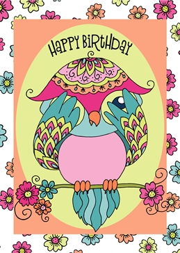 Millymoo Birthday Owl  personalised online greeting card