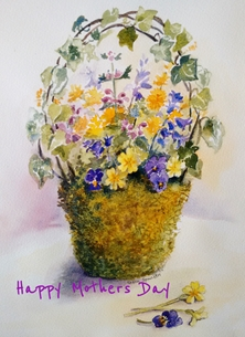 Mothers mothers day, spring flowers, Easter, watercolour, personalised online greeting card