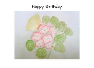 Birthday butterflies geraniums flowers watercolour personalised online greeting card