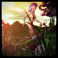 General dragonfly fairy garden flowers nature fantasy magic girl personalised online greeting card