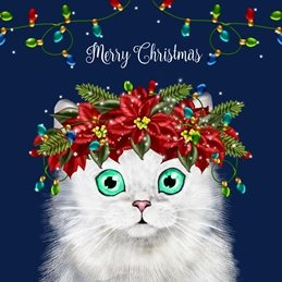 Christmas White, Cat, Persian, Lights, Fairy Lights,  personalised online greeting card
