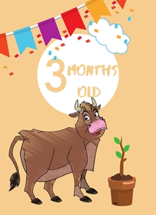 Cow,Banner,Milestone 3 months,Colourful,plant, personalised online greeting card