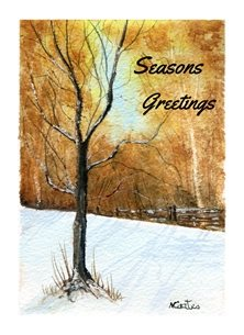 Christmas snow, landscape, watercolour personalised online greeting card