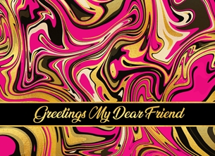 General Friend, Any Occasion, For-Him, For-Her, Blank, Pink, Black, Gold, Marble, Abstract personalised online greeting card