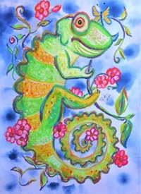 Little Liz Happy Art Cham Happy General chameleon lizard reptile happy flowers animals chameleons colourful cheerful personalised online greeting card