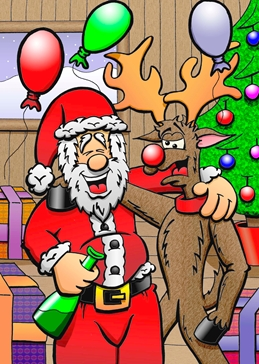 CHRISTMAS, SANTA, FATHER CHRISTMAS, XMAS, REINDEER, RUDOLPH, FUNNY, HUMOROUS, FUN, CARTOON, FESTIVE, DRUNK personalised online greeting card