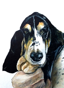 art basset hound, artwork dogs animal pets for-him for-her personalised online greeting card