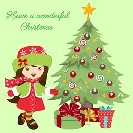 Christmas Girl Tree Baubles Gifts Red Green Yellow Happy Wholesale personalised online greeting card