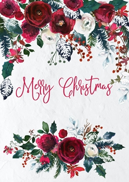 Merry Christmas Elegant Floral Greeting Card