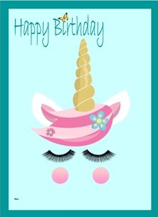 Her Nibs  Unicorn Face 2 Birthday Unicorn Face Flowers Pink Blue Yellow Happy children personalised online greeting card