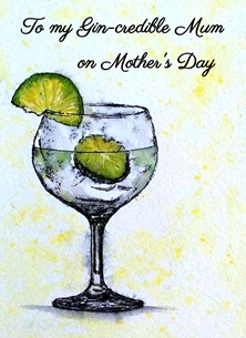 Mothers gin, lemon,drink,yellow,green,black,for her,mum,mother personalised online greeting card