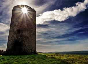 Photography andbc, Ards, Newtownards, windmill, ruin, monument, Strangford lough, mournes, mountains, sky, dramatic, sun,  inspiration, happy, joy, optimistic, peaceful, tranquil, serene, warm,  personalised online greeting card