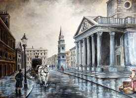 Art By Three  St Martins in the Field London General martins buildings churches st martins london columns for-him for-her general blank all occasions him white horses and carriages man woman roads city london lamposts  vintage for-him personalised online greeting card