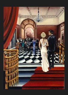 General fineart Art Deco  oils art blank general all occasions for-him for-her  lovers couples anniversary celebrations fineart vintage   ballrooms romance dancing parties music musicians bands proms red white dresses elegant luxury personalised online greeting card